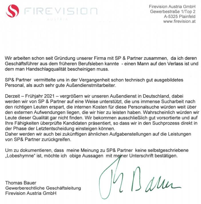 Kundenstimme Firevision für SP & Partner