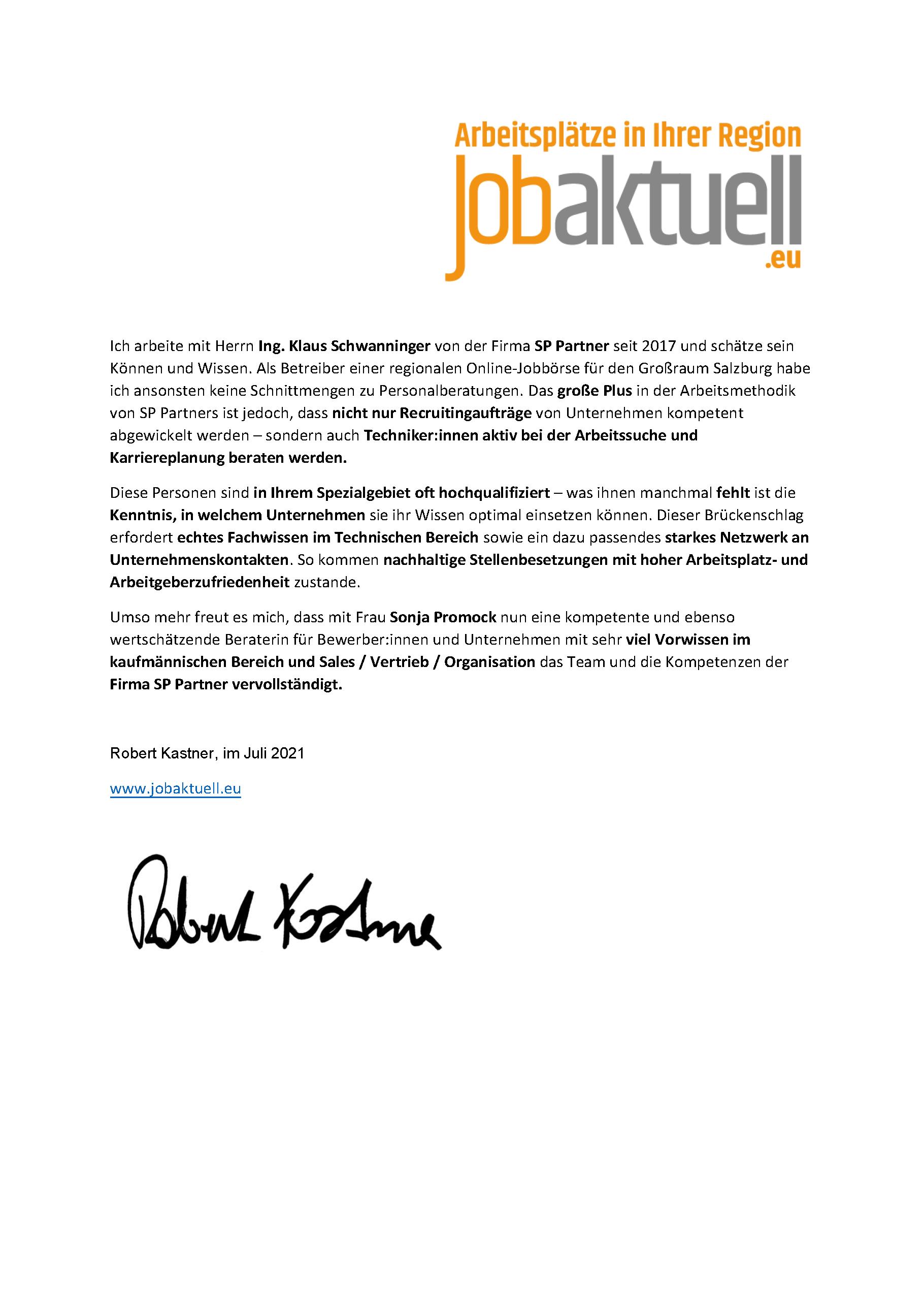 Referenzschreiben der Jobaktuell Salzburg an SP & Partner
